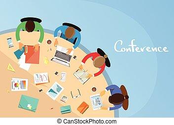 ufficio, conferenza, affari, seduta, persone, lavorativo, lavoro squadra, tavola