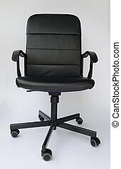 ufficio, cuoio, fondo., nero, chair., bianco