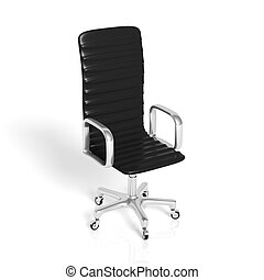 ufficio, cuoio, isolato, nero, sedia, bianco