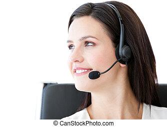 ufficio, discorso, fiducioso, cliente, donna d'affari, headset portare