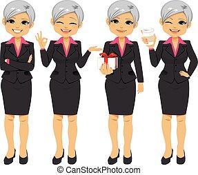 ufficio, donna d'affari, anziano