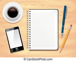 ufficio, foto, cima, blocco note, realistico, vettore, scrivania, vista