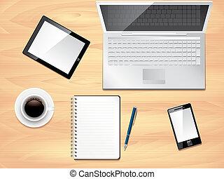 ufficio, foto, cima, realistico, vettore, scrivania, vista