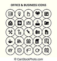 ufficio, icone affari
