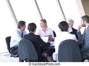 ufficio, persone affari, luminoso, gruppo, riunione, moderno