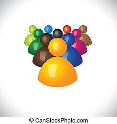 ufficio, politico, graphic., membri, comunità, segni, personale, &, vincitore, -, squadra, anche, seguaci, condottiero, 3d, colorito, illustrazione, direzione, rappresenta, questo, personale, icone, o, vettore, perdenti