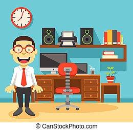 ufficio, posto lavoro, lavoratore, suo