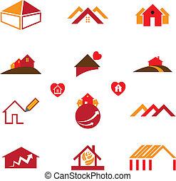 ufficio reale, affari, &, casa, icone, proprietà, logotipo
