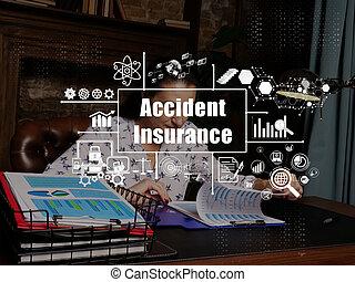 ufficio, relazione, donna d'affari, fondo., dall'aspetto, segno., serio, circa, concetto, giovane, assicurazione, affari, incidente