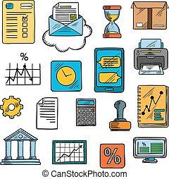 ufficio, stile, affari, schizzo, finanziario, simboli