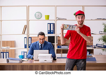 ufficio, uomo, pizza, trasmettere, distribuire, giovane
