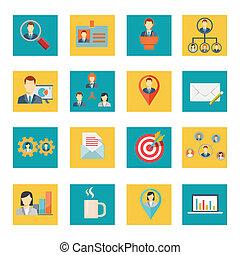 ufficio, vettore, set, icone affari
