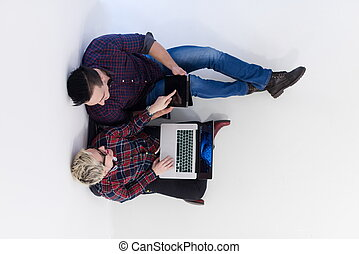 ufficio, vista, avvio, cima, computer, laptop, lavorativo, coppia