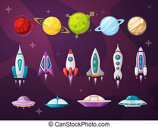 ufo, appartamento, illustrazioni, cosmo, set, vettore