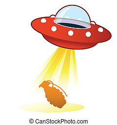 ufo, bomba a mano, bottone