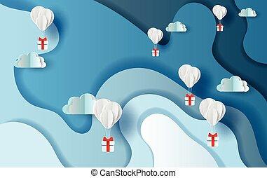 uggia, astratto, carta, cielo blu, arte, illustrazione, palloni, curva, regalo, vector., fondo, mestiere, forma