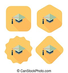 uggia, berretto, icona, eps10, appartamento, lungo, educazione