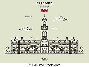 uk., punto di riferimento, bradford, municipio, icona