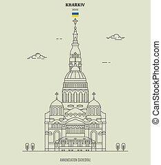 ukraine., punto di riferimento, cattedrale, kharkiv, icona, annunciazione