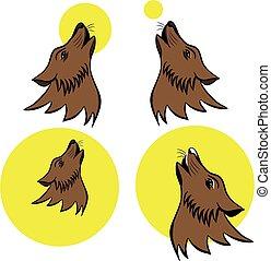 ululando, simbolo, lupo