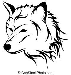ululando, vettore, lupo, illustrazione