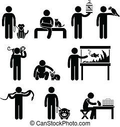 umano, animali domestici, pictogram