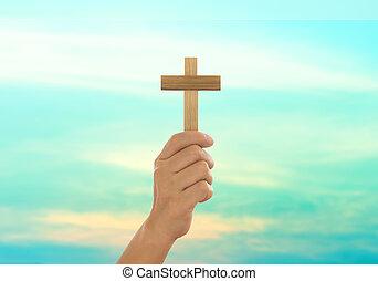 umano, croce, tenere mani