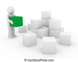 umano, cubo, verde, scatola, 3d, bianco