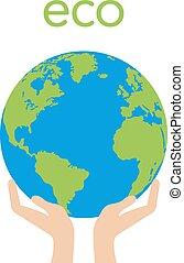 umano, globo, mano, vettore, verde, presa a terra, foglie