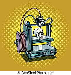 umano, manifatturiero, cranio, stampante, 3d