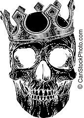 umano, re, reale, cranio, il portare, scheletro, corona