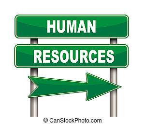 umano, verde, risorse, segno strada