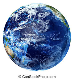 un po', pacifico, clouds., terra pianeta, vista., oceano