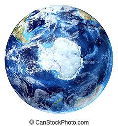 un po', vista., terra, 3, d, clouds., bianco, interpretazione, realistico, antartico, (south, pole), globo, fondo.