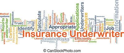 underwriter, concetto, assicurazione, fondo