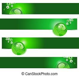 unico, quattro, terra, bandiere, verde