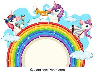 unicorno, musicale, carino, banda