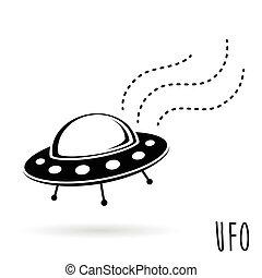 (unidentified, ufo, volare, object)., illustrazione, vettore, piattino