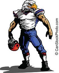 uniforme football, illustrazione, giocatore, aquila, vettore