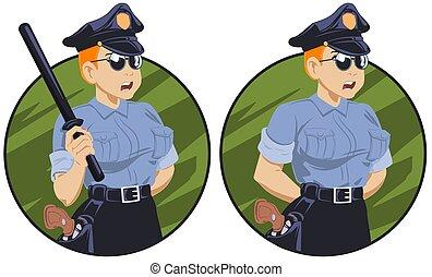 uniforme, lei, baton polizia, mano., donna, ufficiale