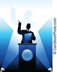 unione, dare, discorso, palcoscenico, condottiero, europeo
