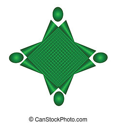 unione, domanda, squadra, verde, logotipo