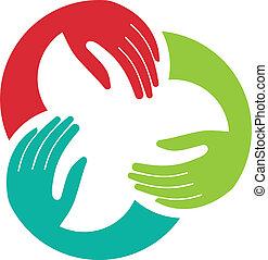 unione, logotipo, immagine, tre, mani