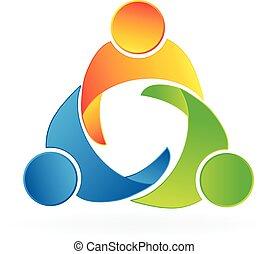 unione, logotipo, lavoro squadra, persone