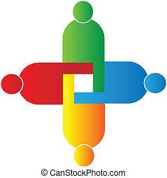 unione, logotipo, vettore, lavoro squadra