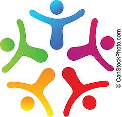 unione, persone, logotipo, vettore