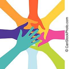 unire, colorito, persone, molti, mano, lavoro squadra