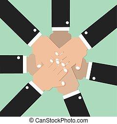 unire, lavoro squadra, spirito, insieme, mani
