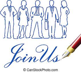 unire, persone affari, ci, penna, invito