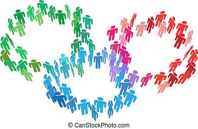 unire, persone affari, fusione, gruppi, sociale